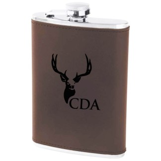 8 Ounce Flask with Premium Leather wrap