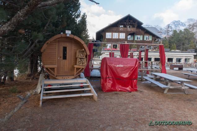 Holzfass Sauna Lej da Staz