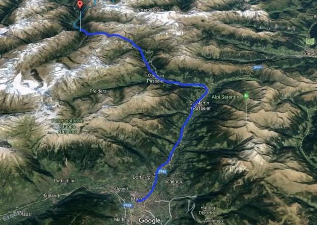 Alpenüberquerung Sölden / Zweiselstein nach Meran Karte