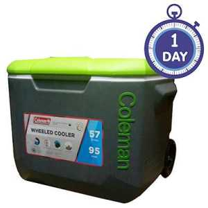 Coleman Cooler 60QT Wheeled grey lime