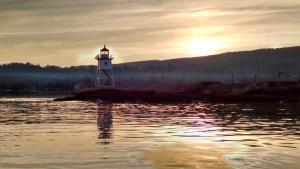 Grand Marais Harbor Lighthouse Sunset Smoke Wildfire