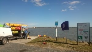 Getting the kayaks ready at the boatramp