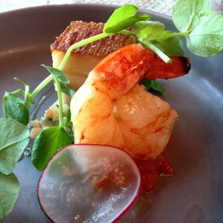 Pork Belly, Kimchi, Prawn, and Pear Slaw - La Bonne Table, Adelaide. Courtesy Jacqui's Food Fetish.