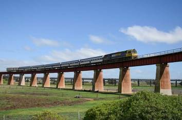 The Overland crossing the bridge at Murray Bridge