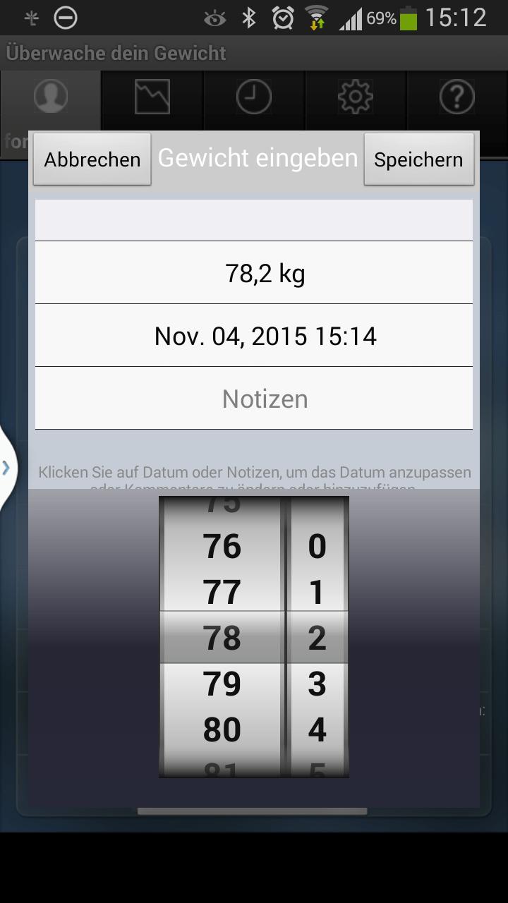 gewicht kontrollieren app android