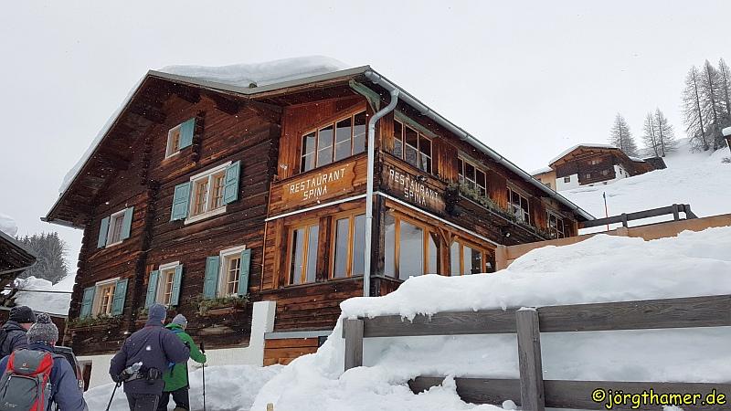 Schneeschuhwandern Davos - Restaurant Spina