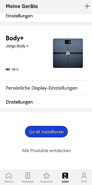 Screenshot Withings Body+ Installation