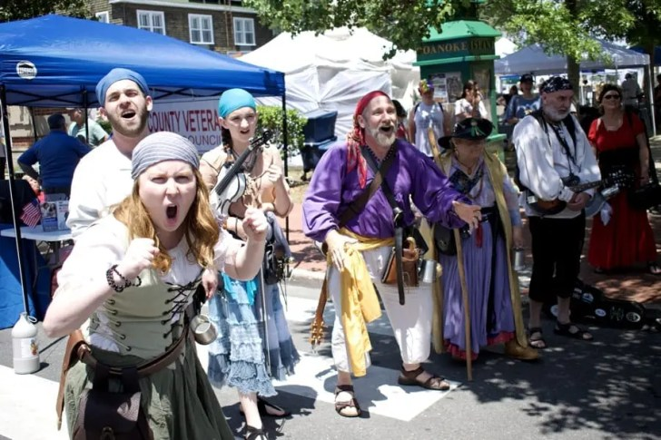 The Motley Tones singing pirate songs at Dare Day. Photo, Kip Tabb