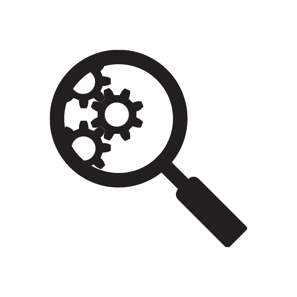 SEO Icon - Magnifying glass inspecting gears