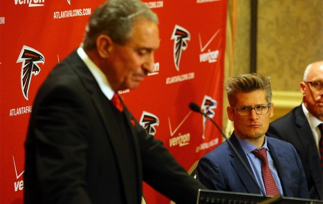Falcons owner Arthur Blank reads his statement on the firing of Mike Smith (Photo Credit: Curtis Compton/AJC)