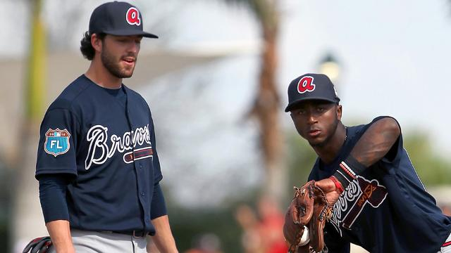 Dansby Swanson and Ozzie Albies work together in Spring Training 2016. (Cliff Welch/MiLB.com)