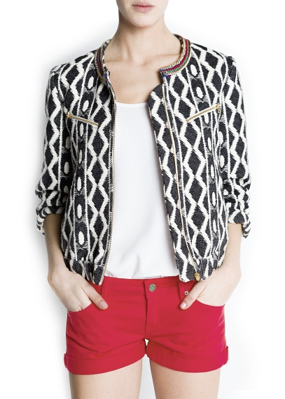Jacket in black and white, ethnic motive $89.99