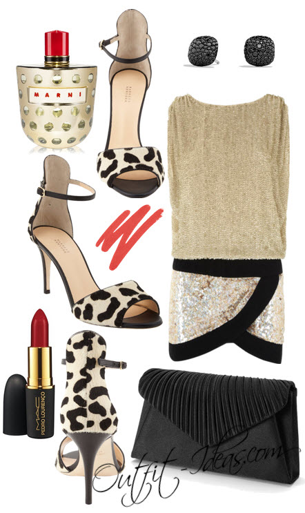 Barneys New York black and cream leopard-print