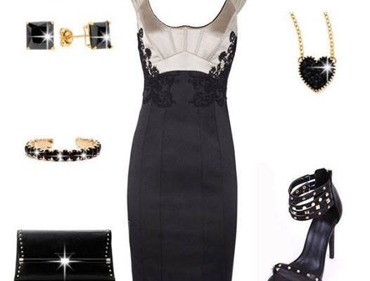 Little Black Party Dress with Stiletto Sandals