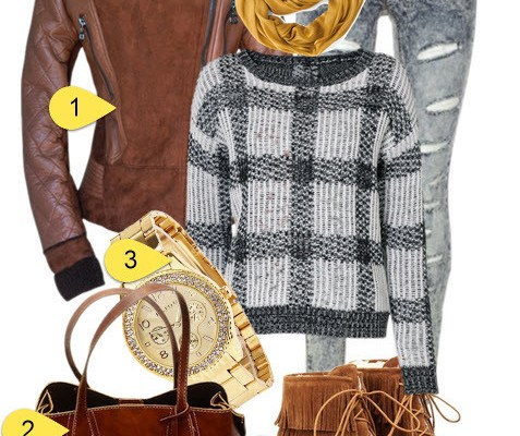 Casual Outfit-Beam Waist Zippers Stitching Fleece Coat with Short Boots