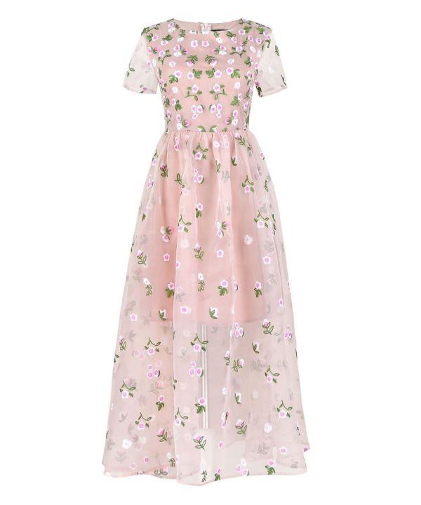 Nude-Green-Floral-Embroider-Embellished-Dress-Tulle-Organza-Maxi-V-Jessica-Alba (2)