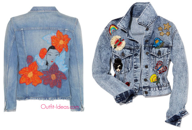 Citizens of Humanity Dakota Embroidered Denim Jacket and Alice + Olivia Chloe Cropped Denim Jacket with Patches, Light Blue