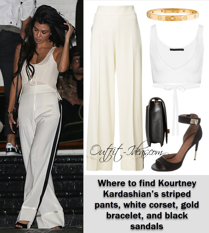 Where to find Kourtney Kardashian's striped pants, white corset, gold bracelet, and black sandals