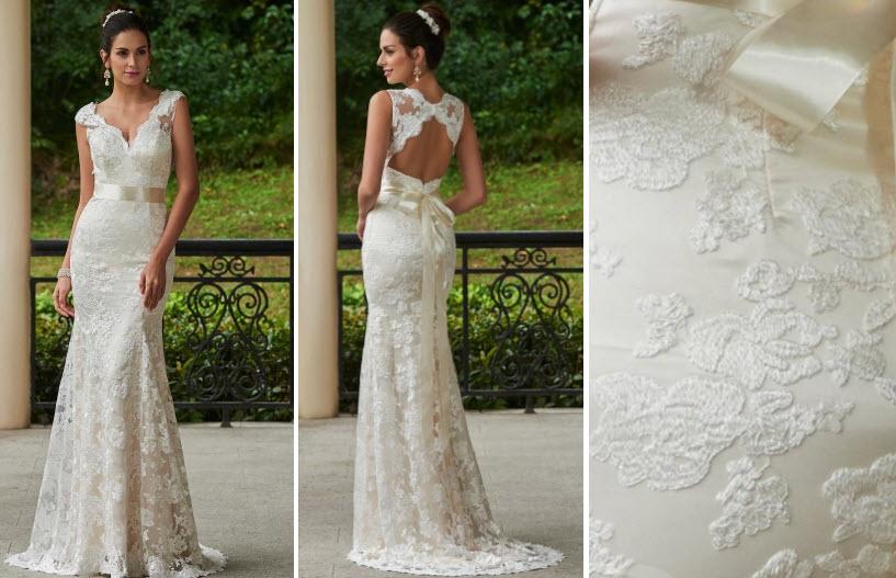 V-Neck Lace Zipper-Up Sheath Sweep Train Wedding Dress