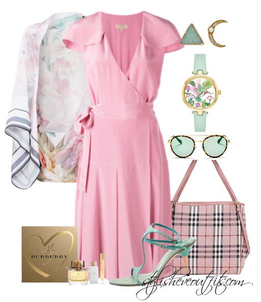 Burberry outfits for women with pink dress