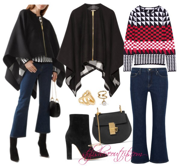 Burberry outfits for women with poncho