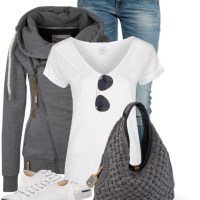 Zipped Hoodie with Hobo Bag Casual Outfit