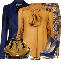 Classy Gold Blue Floral Skirt Work Outfit