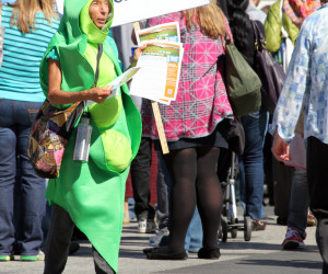 An anti-GMO protester dressed as a giant soy bean. Prop 37 has sparked major debates and protests throughout California over the labeling of genetically modified foods.