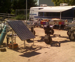 The ATHLETE vehicle at one of its fuel cell charging stations. Credit: JPL/NASA