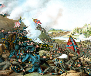 Kurz and Allison's 1891 representation of the Battle of Franklin (November 30, 1864) during the American Civil War. Image credit: U.S. Library of Congress.