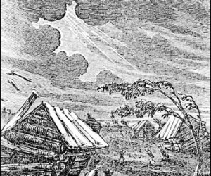 An engraving depicting damage from the 1811-1812 New Madrid earthquakes from Henry Howe's Historical Collections of the Great West (Cincinnati, 1854, p.239). Image provided courtesy of Martitia Tuttle.