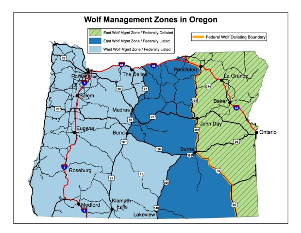 Map of wolf management zones in Oregon - image courtesy of Oregon Department of Fish and Wildlife