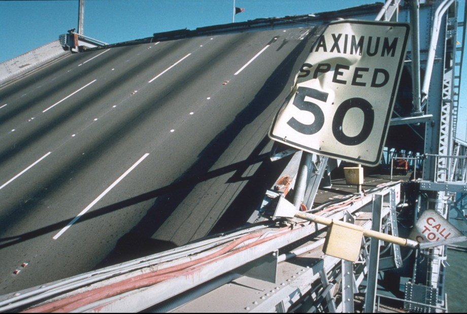 Bridge damage from the Loma Prieta Earthquake. Photo credit: Joe Lewis