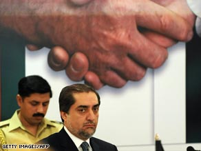Former Afghan Foreign Minister Abdullah Abdullah attends the two-day jirga in Islamabad.