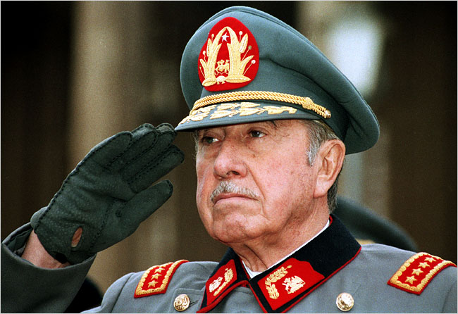 Gen. Augusto Pinochet Ugarte, the brutal dictator who repressed and reshaped Chile for nearly two decades and became a notorious symbol of human rights abuse and corruption.