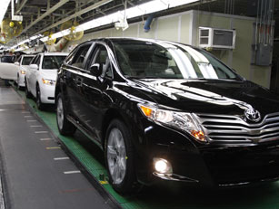 A Toyota Venza nears the end of the assembly line at the Toyota Motor Manufacturing Kentucky plant in Georgetown, Ky., on Monday, Nov. 10, 2008. AP