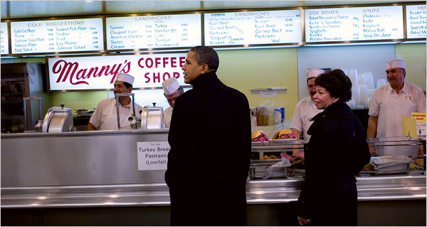 AT HIS RIGHT HAND Barack Obama and Valerie Jarrett getting lunch last week in Chicago. Ms. Jarrett took Mr. Obama under her wing nearly two decades ago.