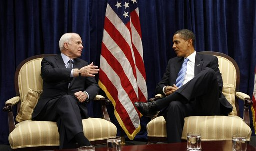 President-elect Barack Obama, right, meets with Sen John McCain, R-Ariz., Monday, Nov. 17, 2008, at Obama's transition office in downtown Chicago. AP Photo