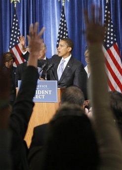 President-elect Barack Obama (center) during his first press conference, in Chicago, following his election victory, Nov. 7, 2008.