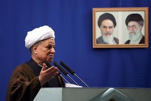 Former Iranian President Akbar Hashemi Rafsanjani gives a speech after leading the Eid Al-Adha prayers at Tehran University. Rafsanjani on Tuesday accused US president-elect Barack Obama of mimicking his predecessors tough stance on Tehrans nuclear drive.