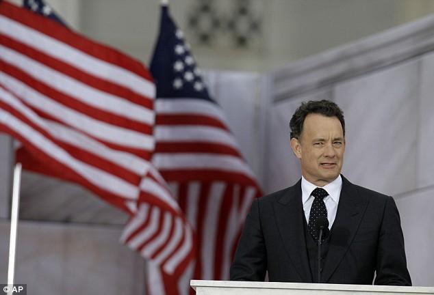Actor Tom Hanks speaks during the celebration