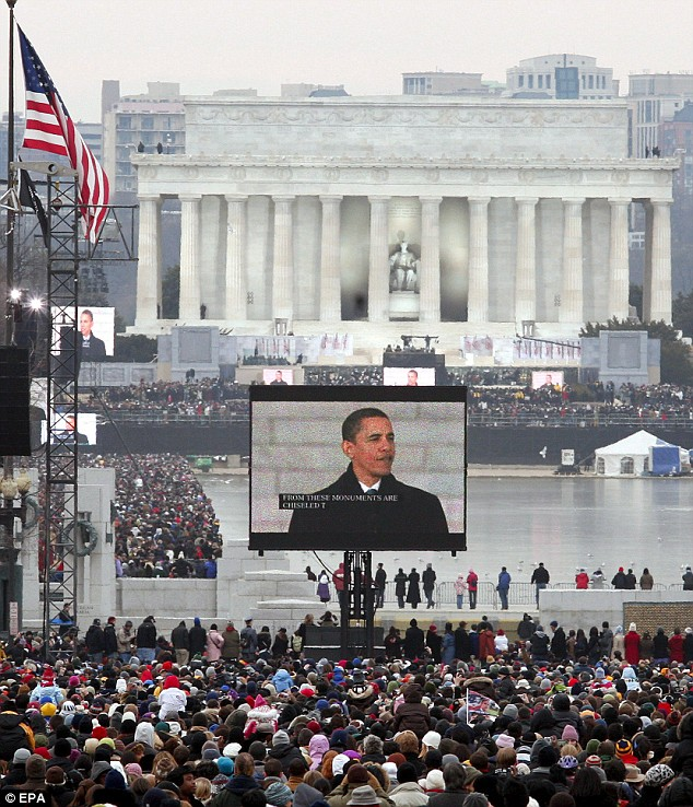 Thousands of people braved the cold to listen to Barack Obama