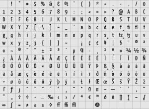 Yanone Kaffeesatz glyphs