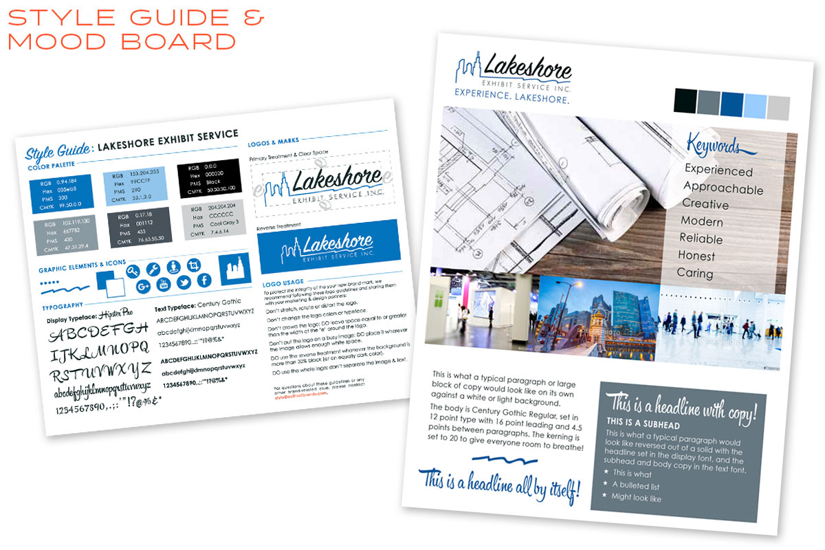 Lakeshore Exhibits Style Guide & Mood Board Design