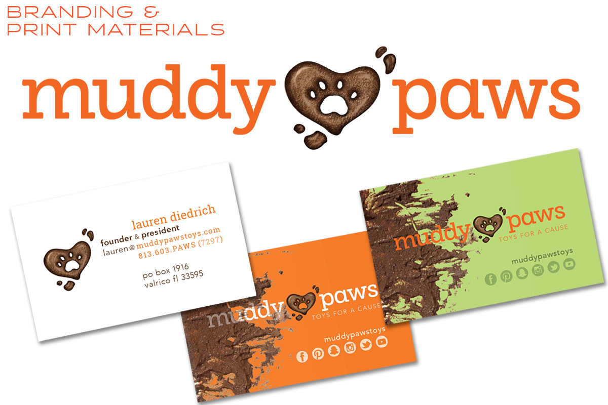 Muddy Paws Toys Logo and Business Cards - Print Materials