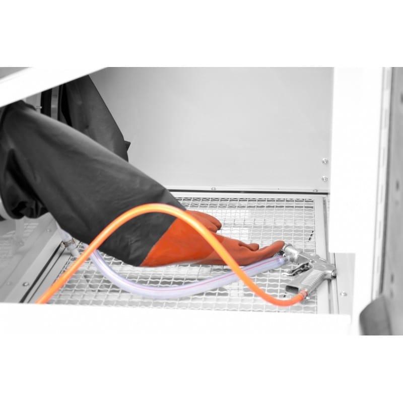 Cabine de sablage 220l ouverture latérale gants et pistolet