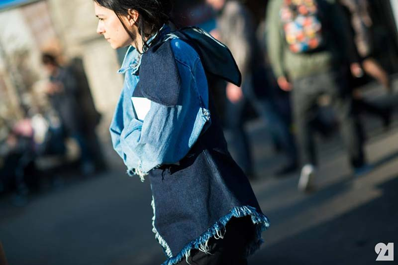 Elizabeth-Black-wearing-our-SS14-denim-bow-top-during-Milan-Fashion-Week