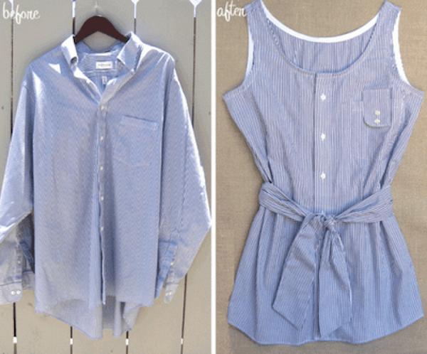 Paidasta kesätoppi shirt refashion to a top