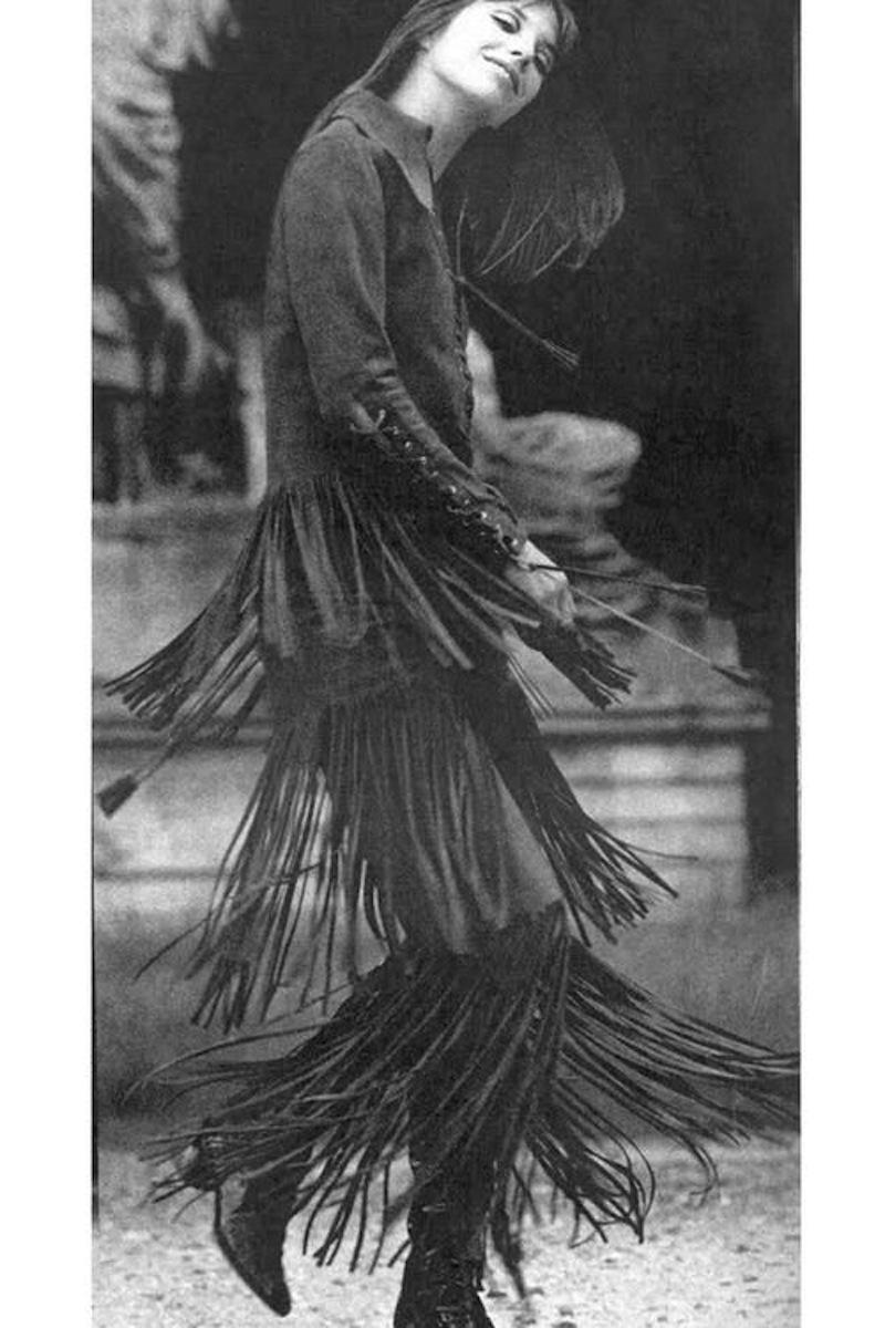 Jane Birkin 1969 fringe leather skirt