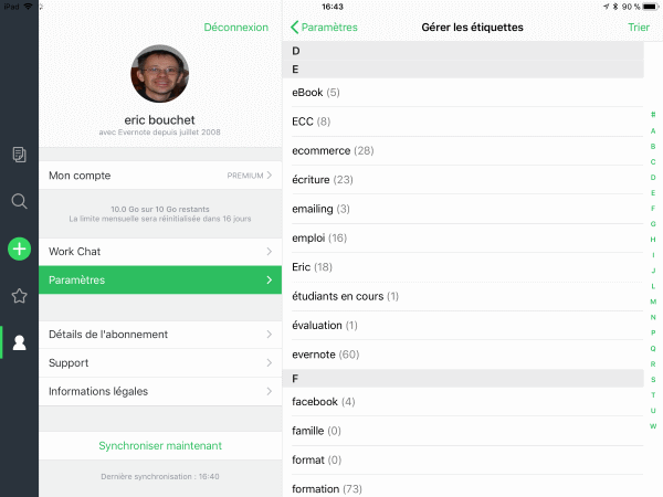 Evernote renommer étiquette iPad